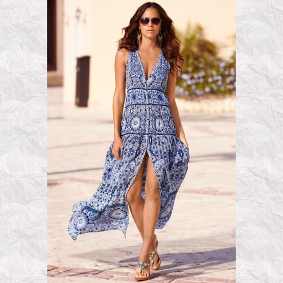 02c2f4f12bf Boston Proper White Sand Tile Print Maxi Dress